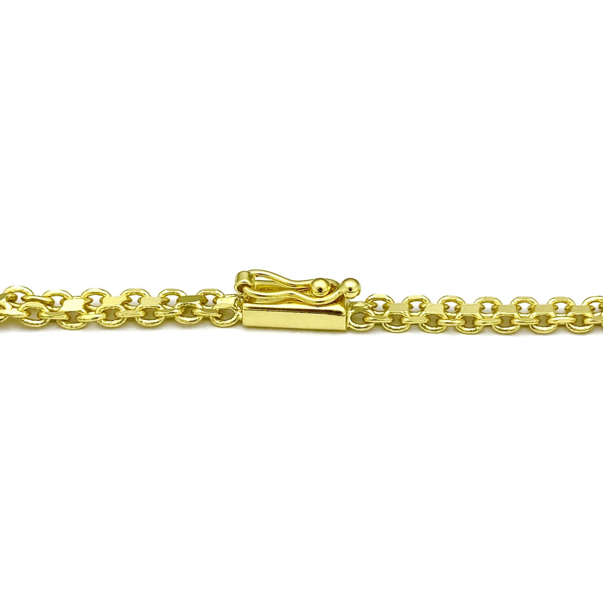 Corrente Cadeado Duplo 5mm 60cm 21g (Fecho Gaveta) (Banho Ouro 18K)