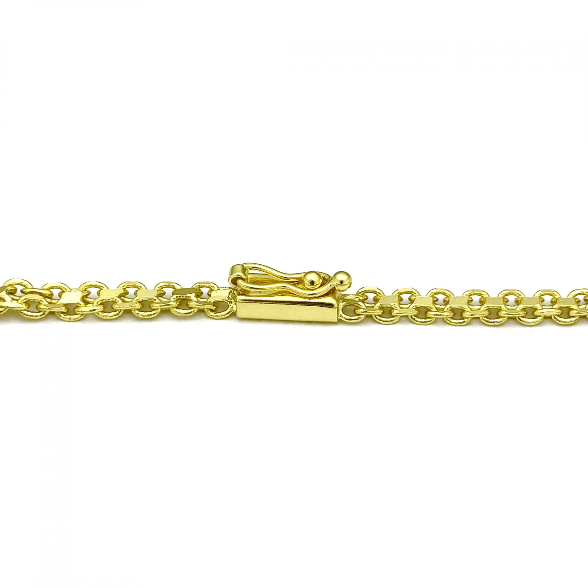 Corrente Cadeado Duplo 5mm 70cm 25g (Fecho Gaveta) (Banho Ouro 24k)