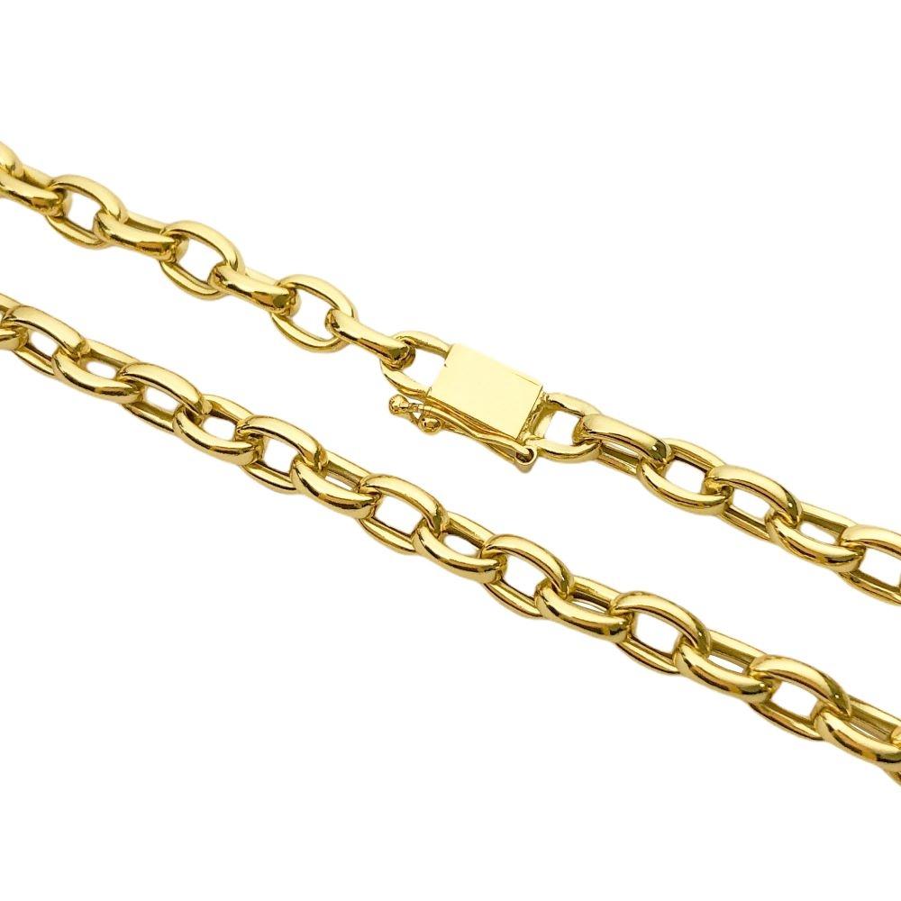 Corrente Cadeado Oca 6,8mm 70cm (30,5g) (Fecho Personalizado) (Banho Ouro 24k)