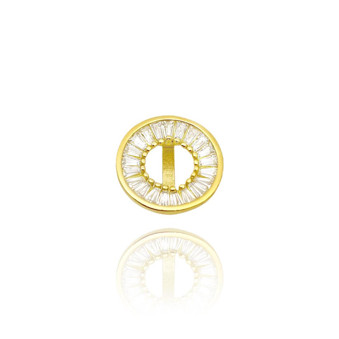 Corrente Carrier Cubinho 1,5mm 40cm (Fecho Tradicional) (Banho Ouro 24K) + Pingente Medalha Vazada Cravejada em Zircônia (1,5x1,5cm) (Banho Ouro 24k)