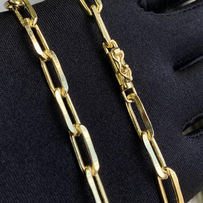 Corrente Carrier Diamantada 6,5mm 60cm (34,5g) (Fecho Canhão) (Banho Ouro 24K)