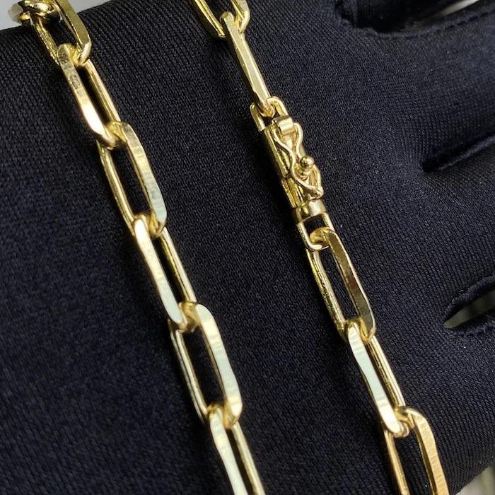 Corrente Carrier Diamantada 6,5mm 70cm (41g) (Fecho Canhão) (Banho Ouro 24K)