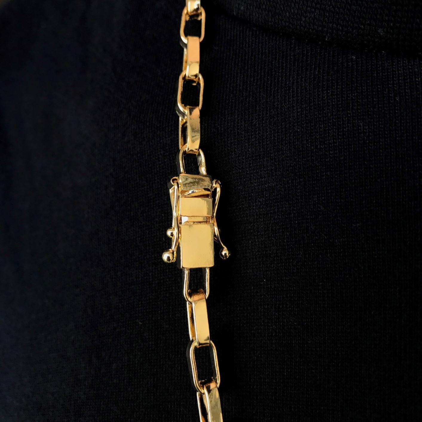 Corrente Carrier Arredondada 5mm 70cm 33g (Fecho Gaveta Duplo) (Banho Ouro 18K)
