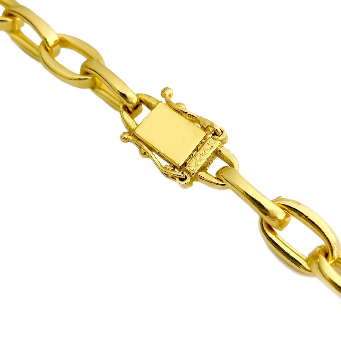 Corrente Carrier Cadeado 8,2mm 60cm (35g) (Fecho Gaveta Duplo) (Banho Ouro 24k)