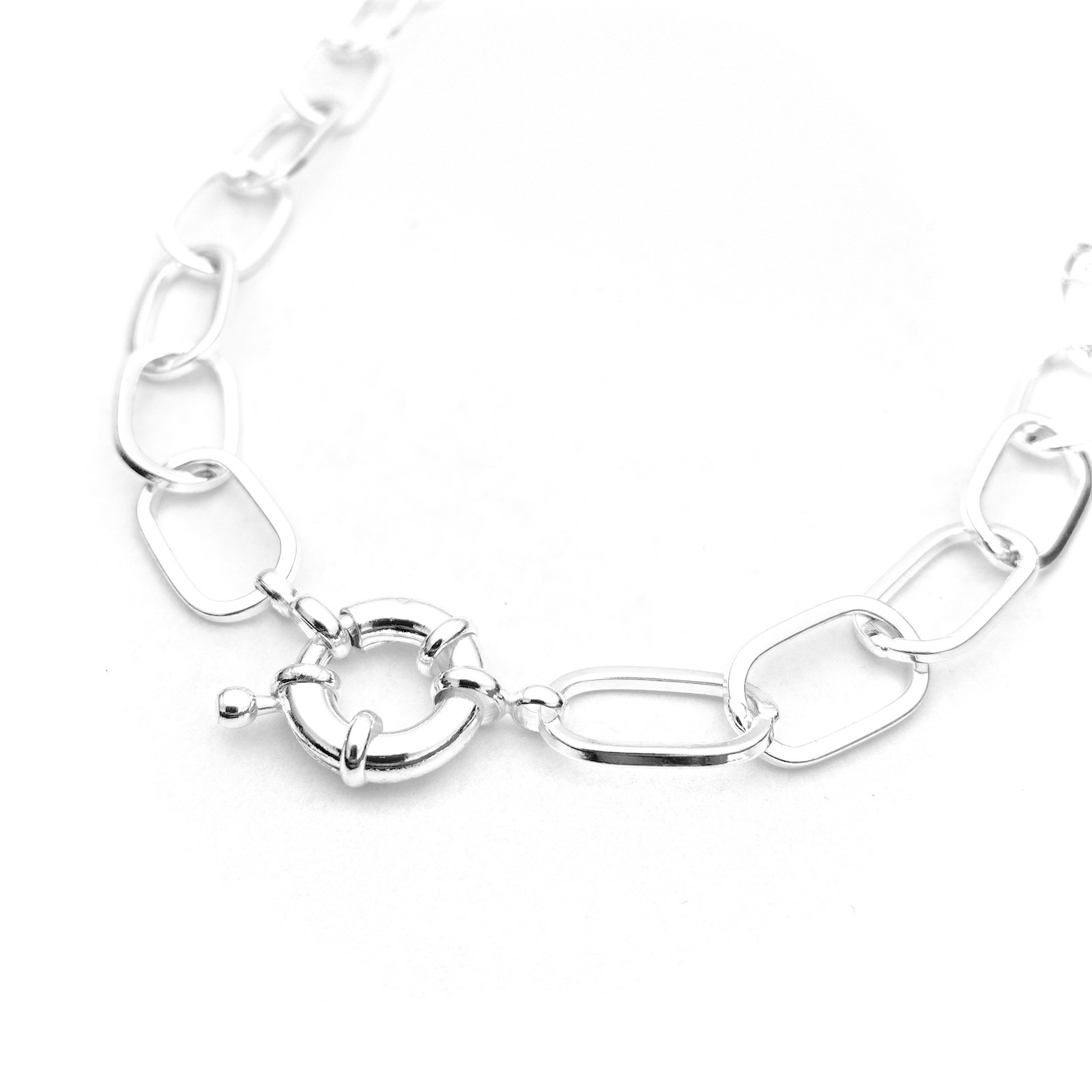 Corrente Chain Elos Fecho Boia 40cm 20g (Banho Prata 925)