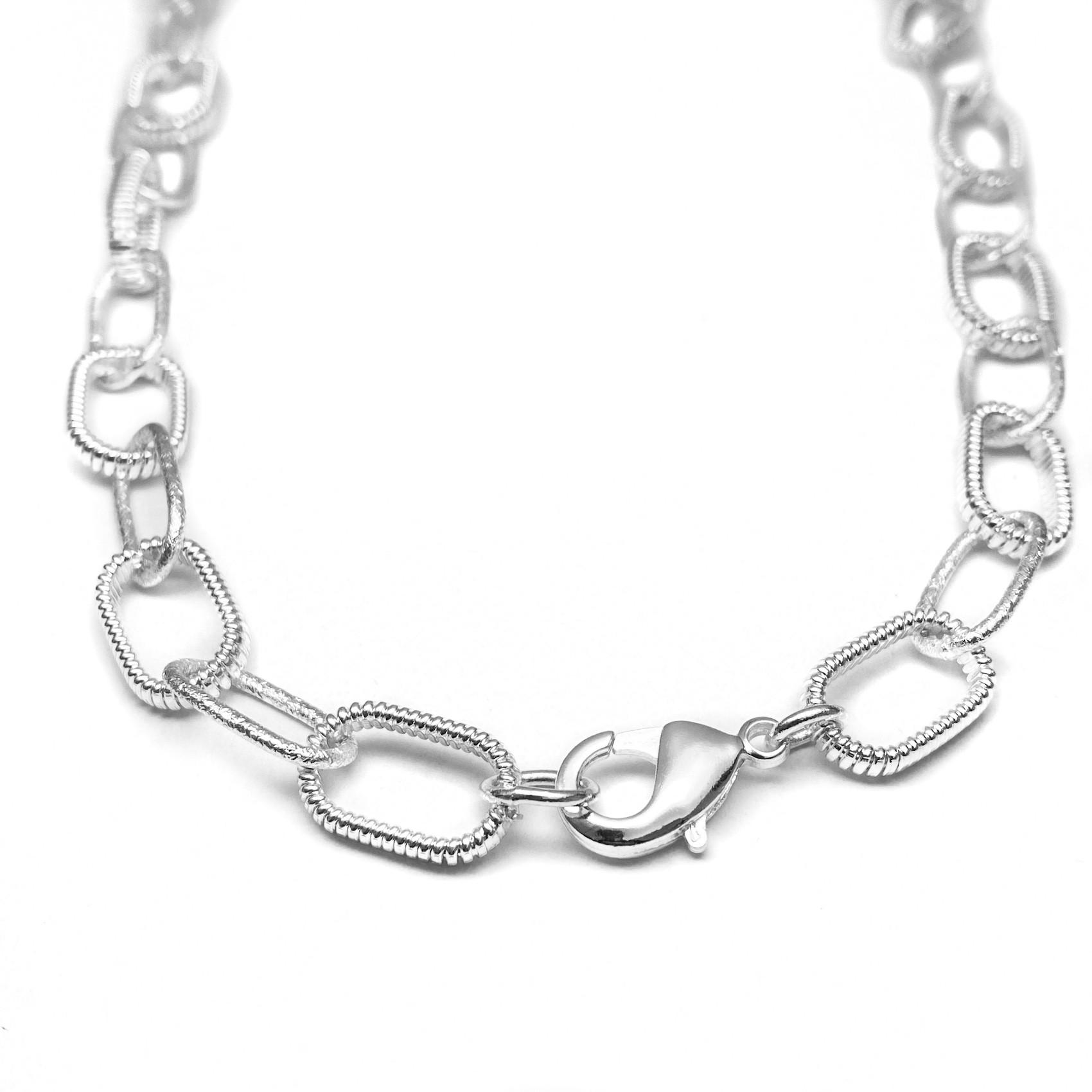 Corrente Chain Elos Texturizados 40cm 30g (Banho Prata 925)