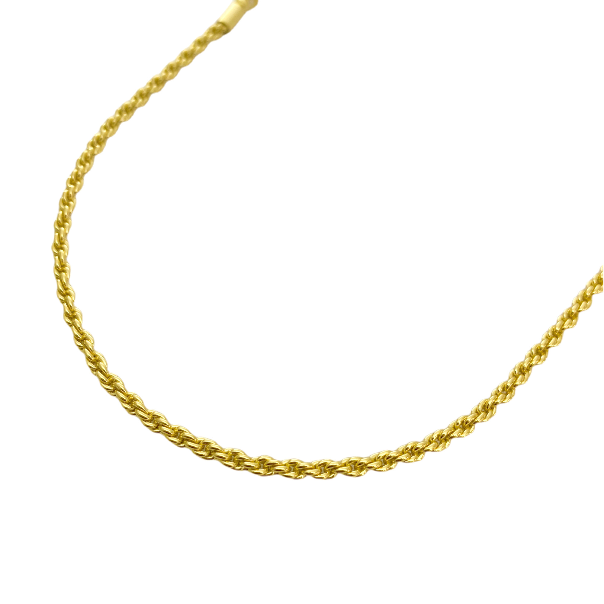 Colar Cordão Baiano 2mm 40cm (Fecho Canhão) (Banho Ouro 24k)