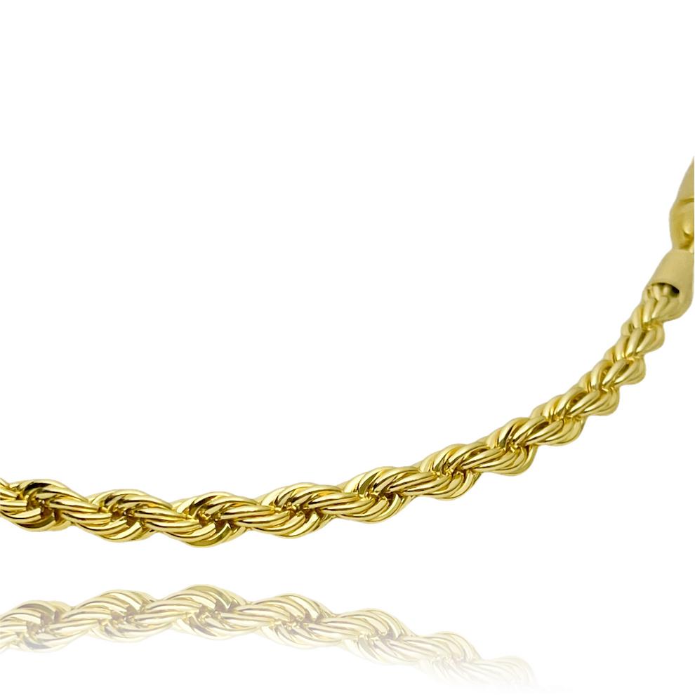 Corrente Cordão Baiano 4mm 60cm (Fecho Canhão) (28,1g) (Banho Ouro 24k)