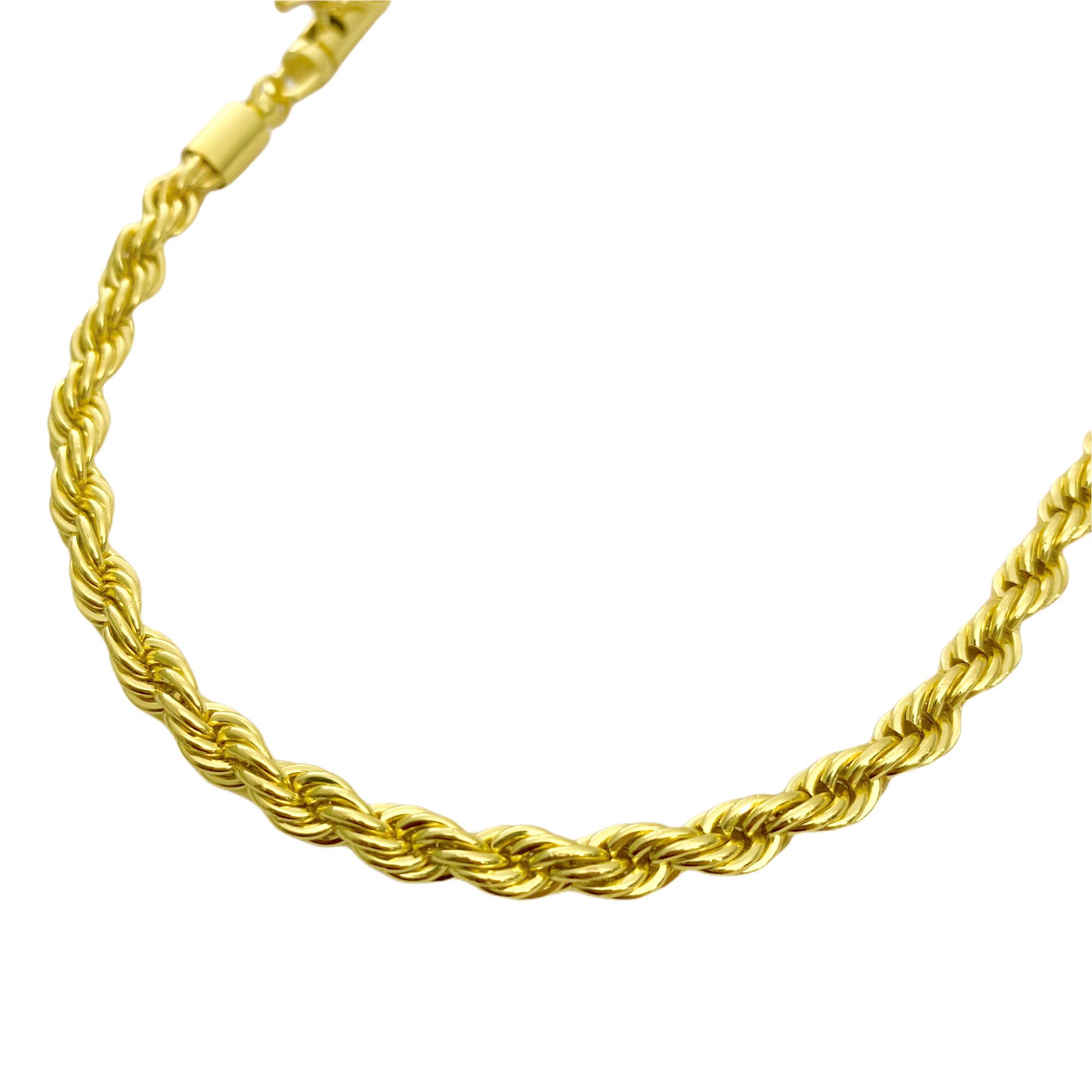Corrente Cordão Baiano 5mm 50cm (36,5g) (Fecho Canhão) (Banho Ouro 24k)
