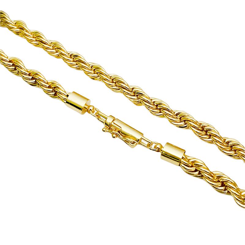 Corrente Cordão Baiano 6mm 60cm (60g) (Fecho Canhão) (Banho Ouro 24k)