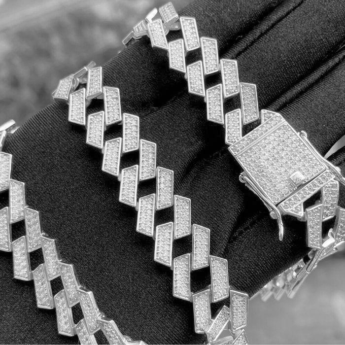 Corrente Cravejada Cuban Link Retangular 14mm 45cm (55,2g) (Banho Prata 925)