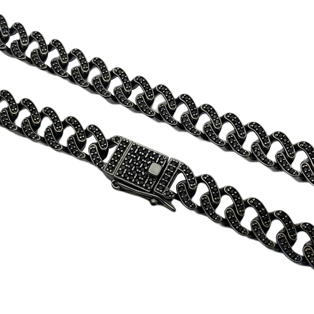 Corrente Cuban Link Grumet Cravejada em Zircônia Suíça 10mm 50cm (49,5g) (Banho de Ônix)