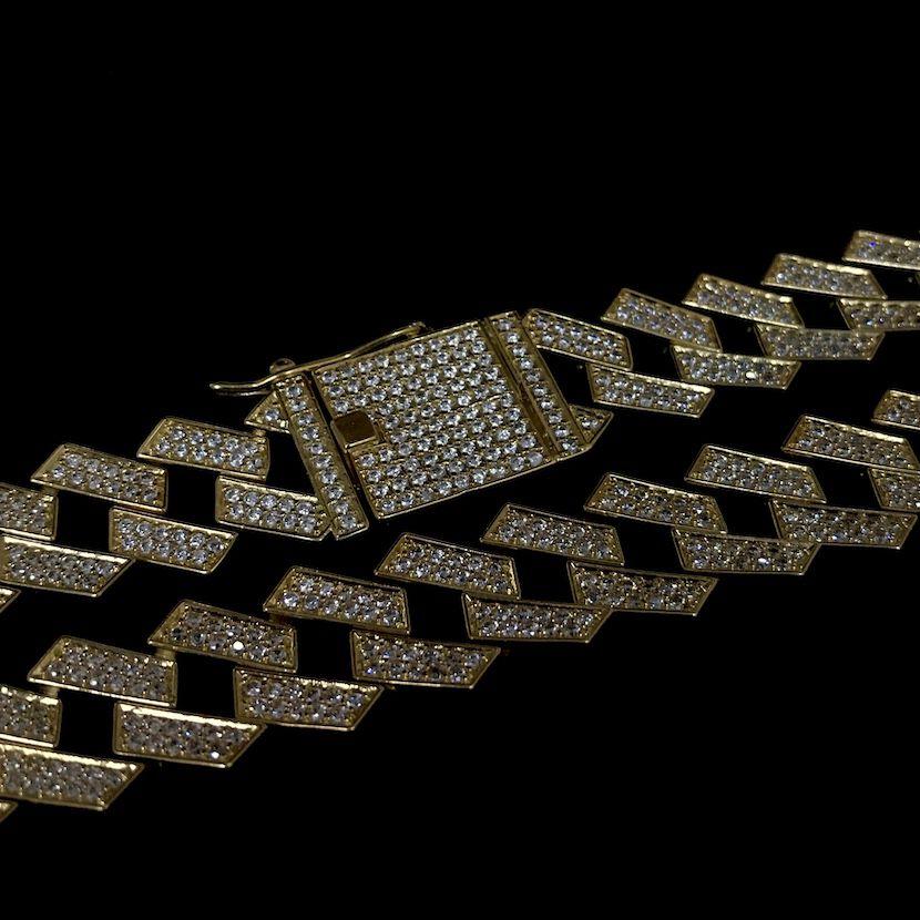 Corrente Cuban Link Retangular Cravejada em Zircônia Suíça 14mm 50cm 65g (Banho Ouro 24k)
