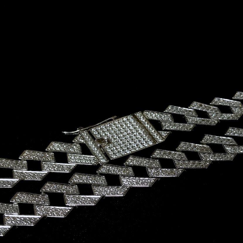 Corrente Cuban Link Retangular Cravejada em Zircônia Suíça 14mm 50cm 65g (Banho Prata 925)