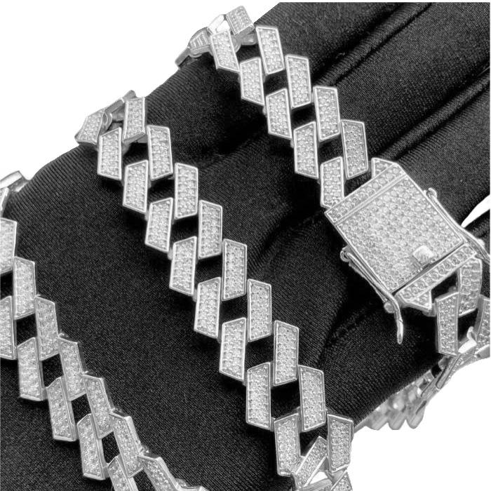 Corrente Cuban Link Retangular Cravejada em Zircônia Suíça 14mm 50cm (65g) (Banho Prata 925)