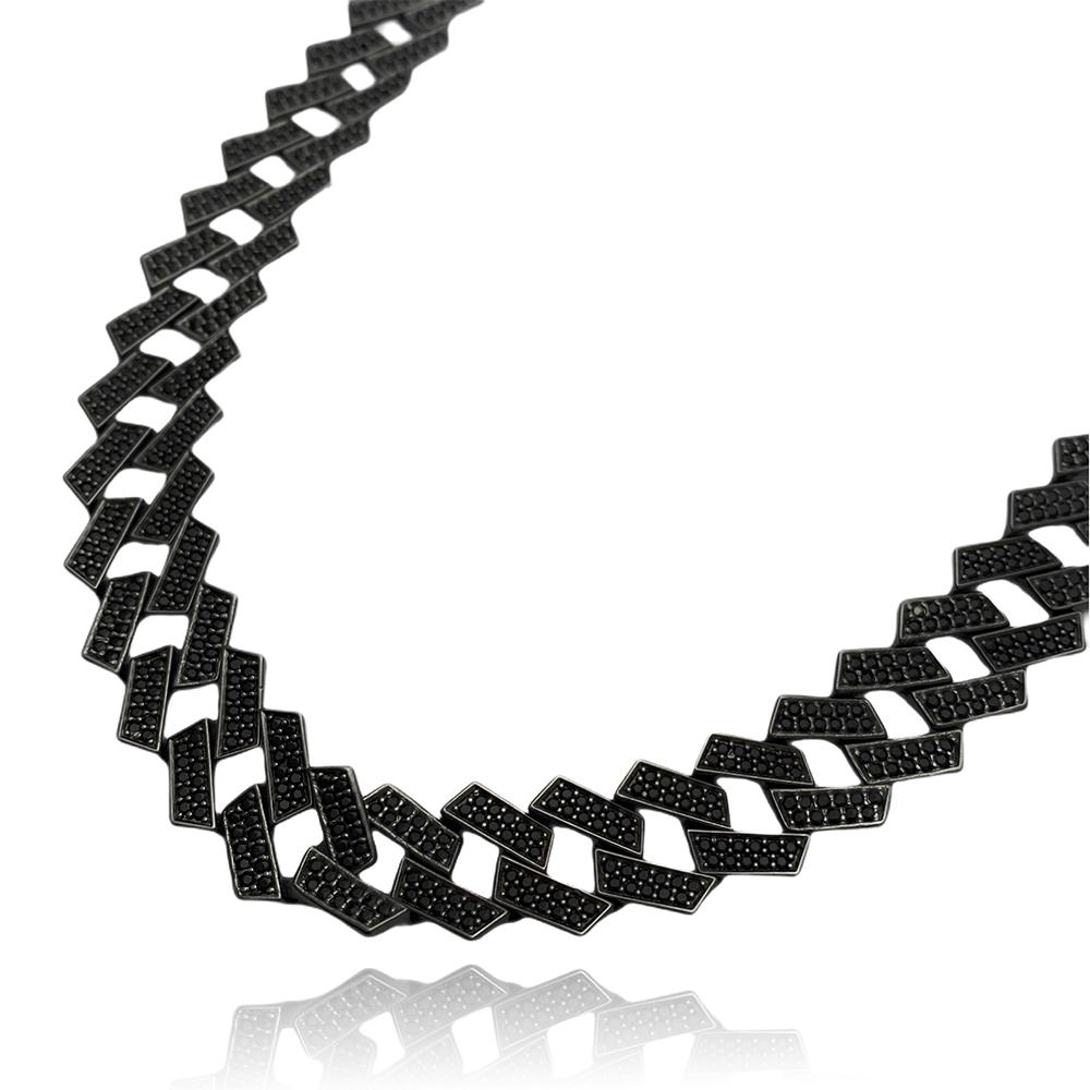 Corrente Cuban Link Retangular Cravejada em Zircônia Suíça 14mm 60cm (73,5g) (Banho de Ônix)