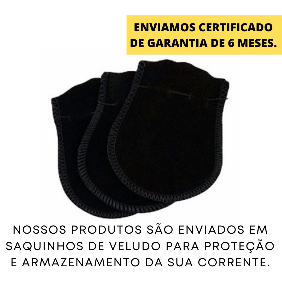 Corrente Cubinho (Tijolinho)  3mm 70cm Fecho Gaveta (Aço Inox)