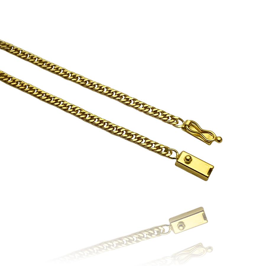 Corrente Double Grumet 3mm 70cm (10,4g) (Fecho Gaveta) (Banho Ouro 24K)