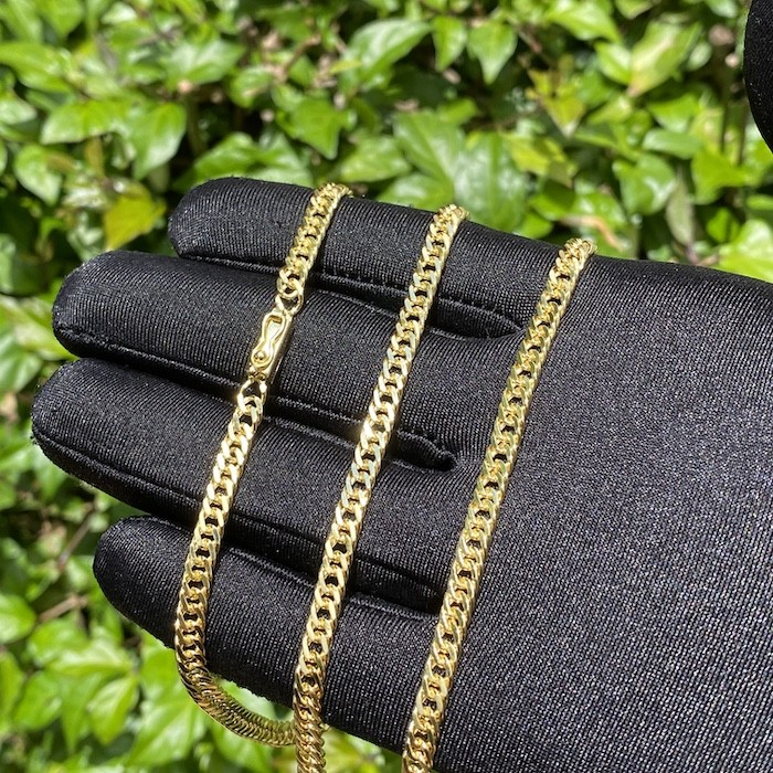Corrente Double Grumet Diamantada 4,3mm 60cm (18,6g) (Fecho Gaveta) (Banho Ouro 24k)