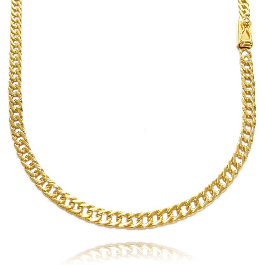Corrente Double Grumet Diamantada 4mm 70cm 22g (Fecho Gaveta) (Banhado Ouro 24k)
