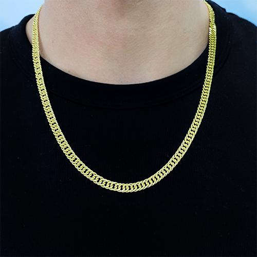 Corrente Double Grumet Diamantada 5,5mm 60cm 28g (Fecho Gaveta) (Banho Ouro 18K)