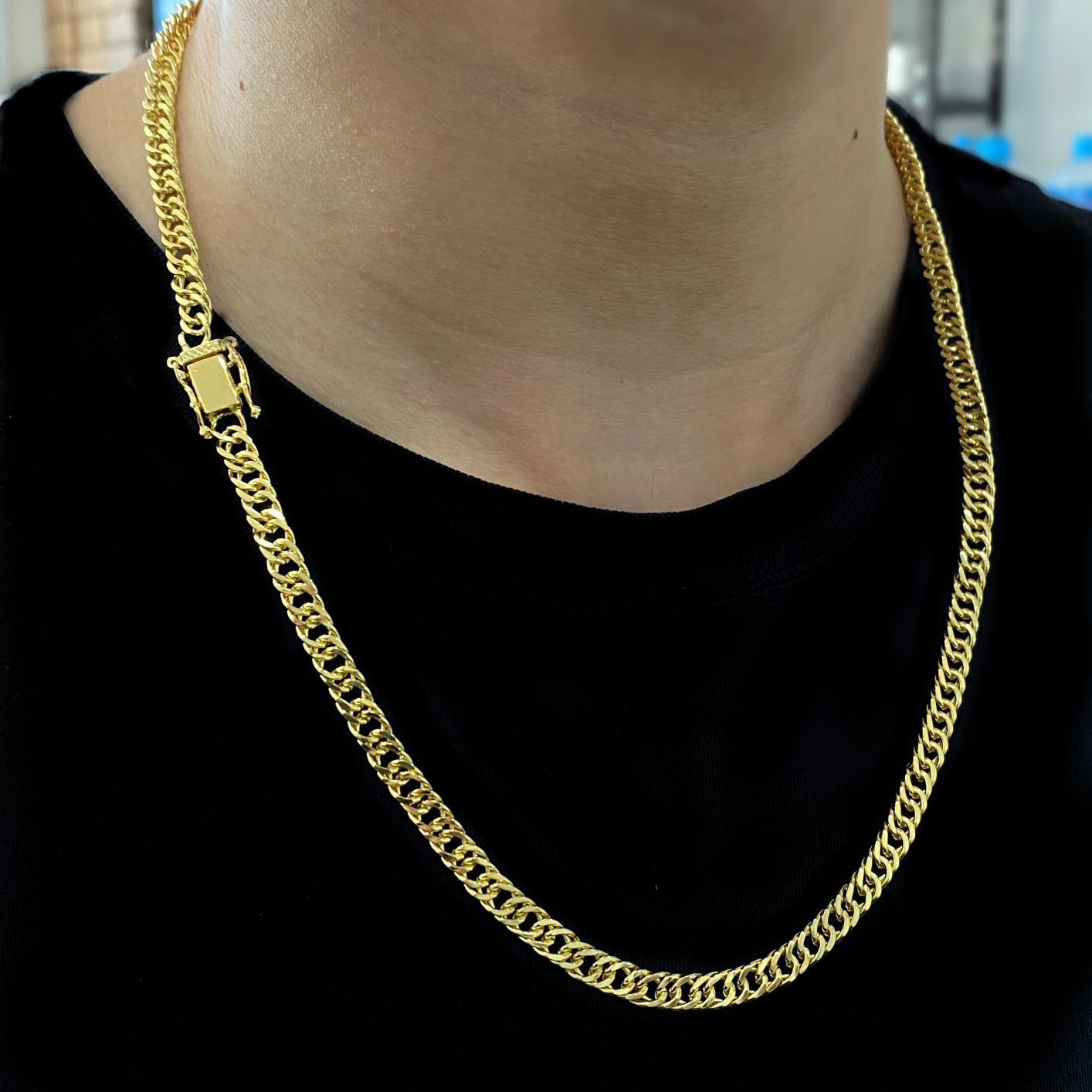 Corrente Double Grumet Diamantada 5,5mm 60cm 28g (Fecho Gaveta Dupla) (Banho Ouro 24K)