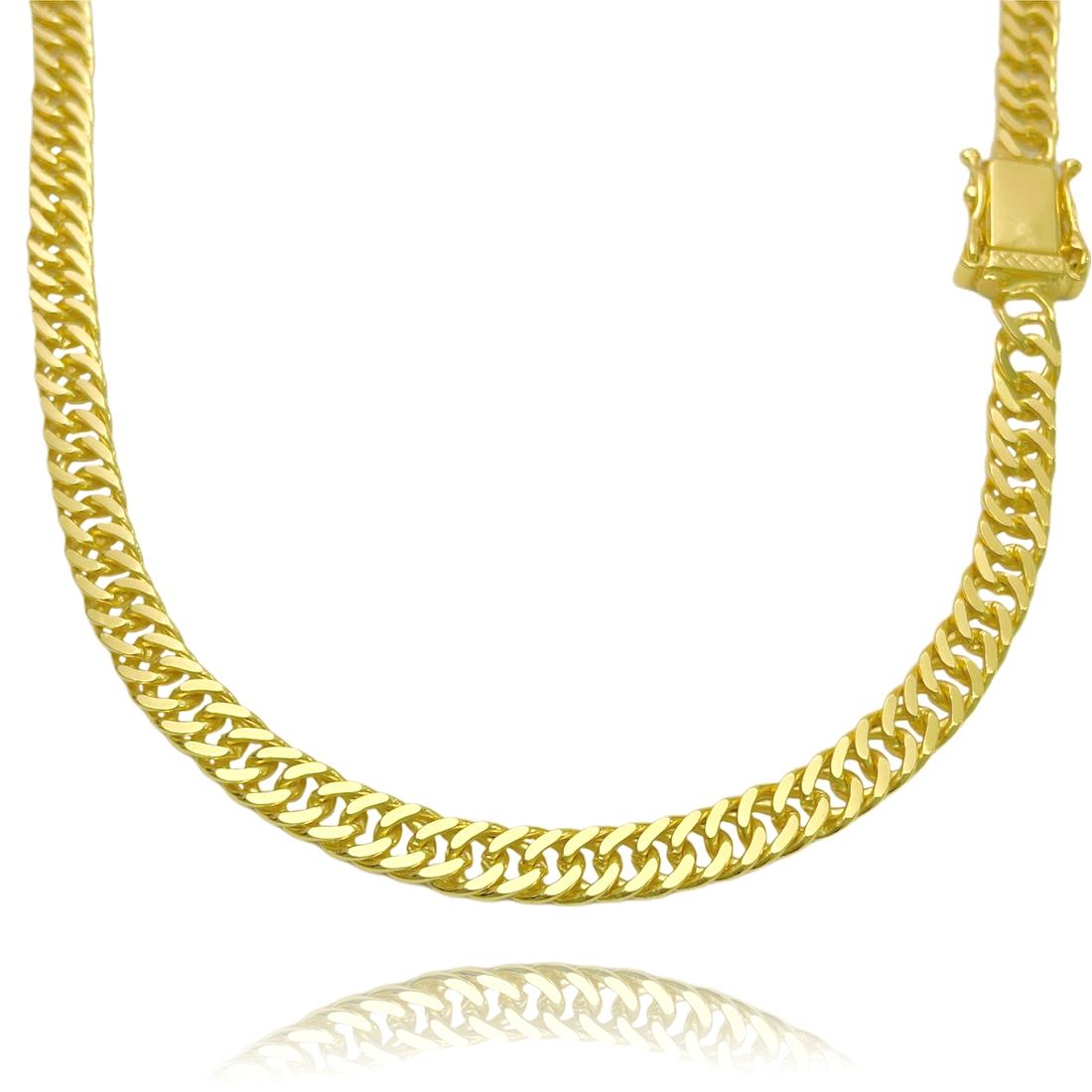 Corrente Double Grumet Diamantada 5,8m 70cm (34,8g) (Fecho Gaveta Duplo) (Banho Ouro 24k)
