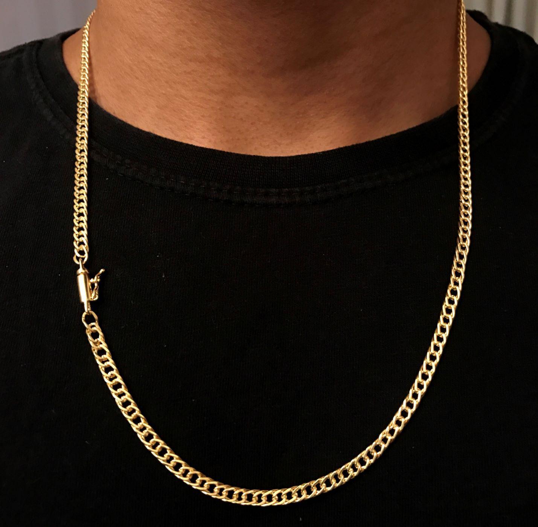 Corrente Double Grumet Diamantada 4mm 60cm 16g (Fecho Canhão) (Banho Ouro 24k)