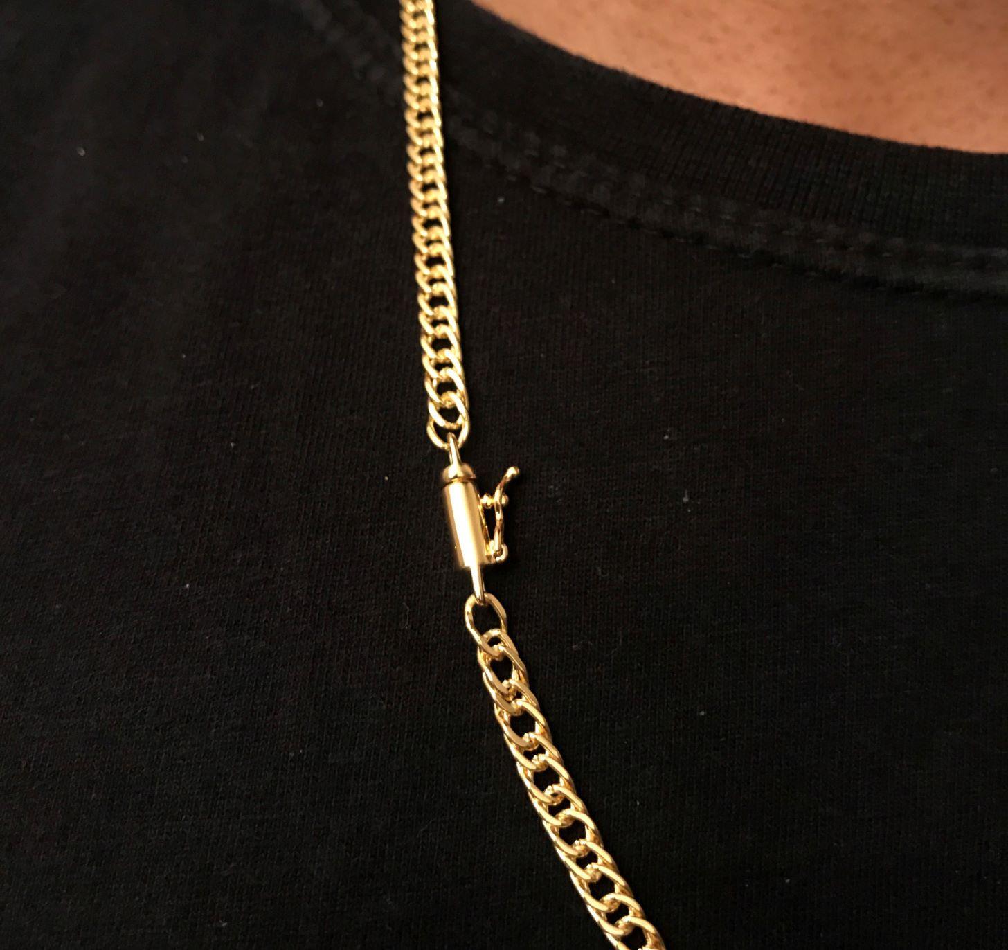 Corrente Double Grumet Diamantada 4mm 70cm 18g (Fecho Canhão) (Banho Ouro 24k)