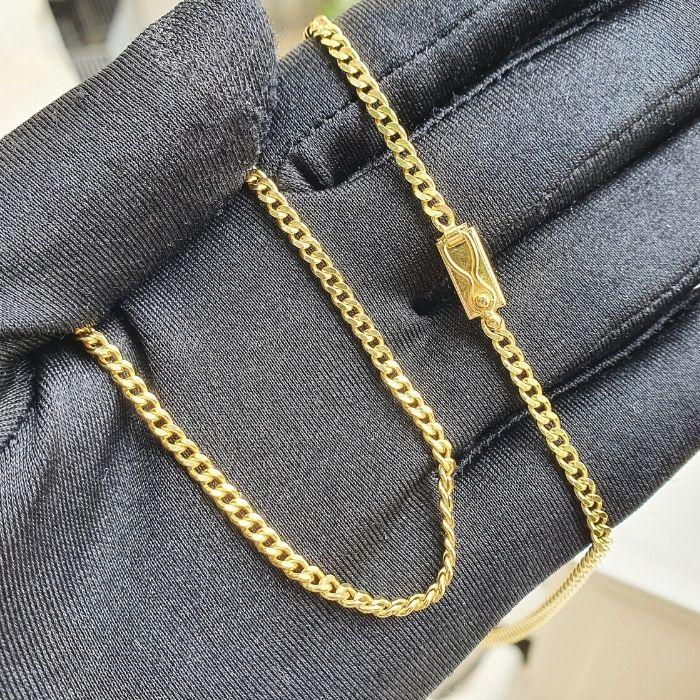 Corrente Grumet 2,5mm 60cm (Fecho Gaveta) (Banho Ouro 24k)