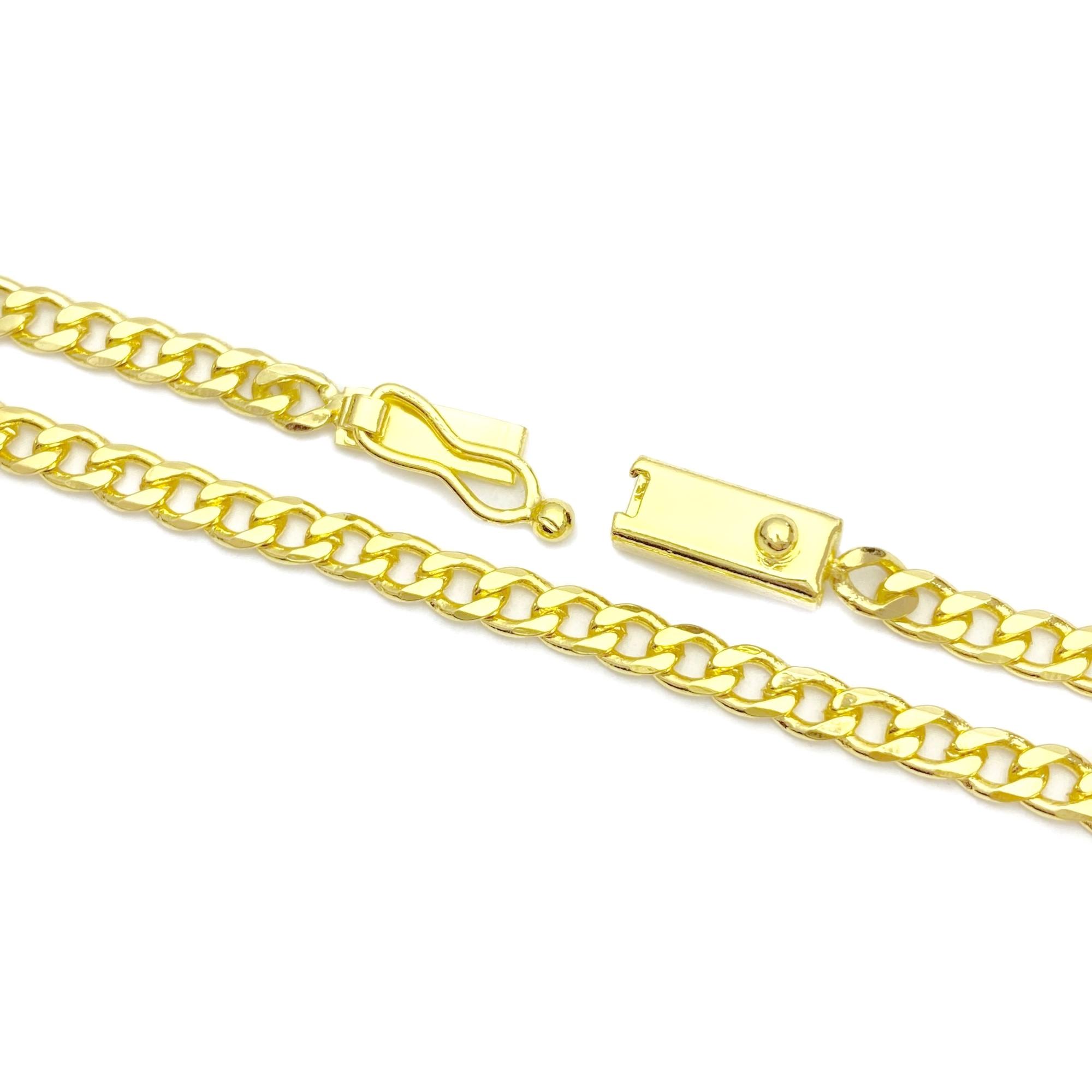 Corrente Grumet 2,8mm 70cm (12,3g) (Fecho Gaveta) (Banho Ouro 24k)