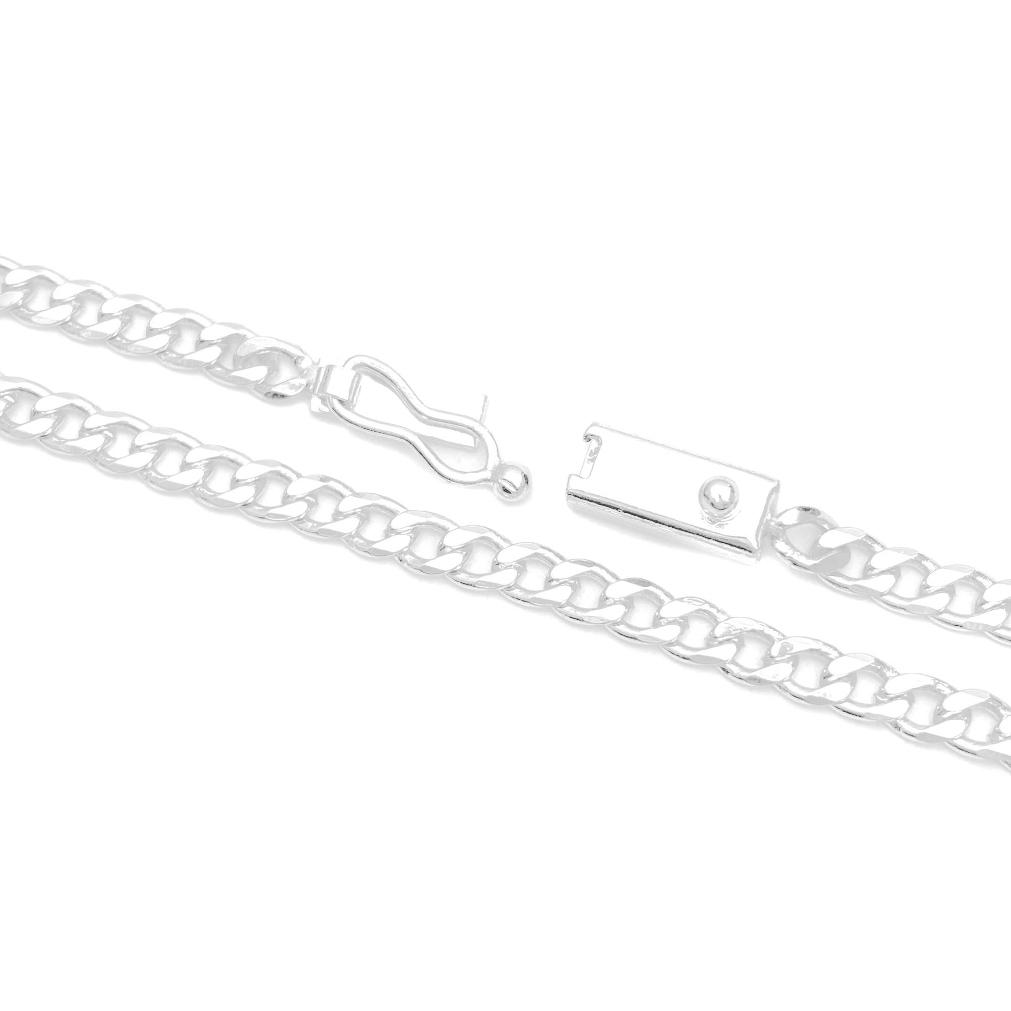 Corrente Grumet 2,8mm 70cm (12,3g) (Fecho Gaveta) (Banho Prata 925)