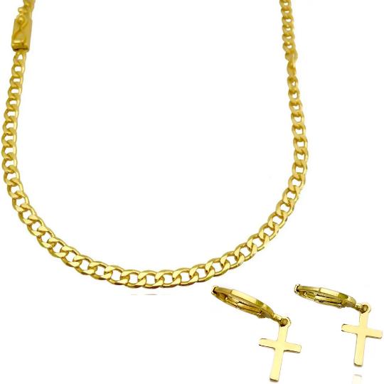 Corrente Grumet 4,5mm 60cm 20g (Fecho Gaveta) + Brinco Argola Crucifixo Chapado