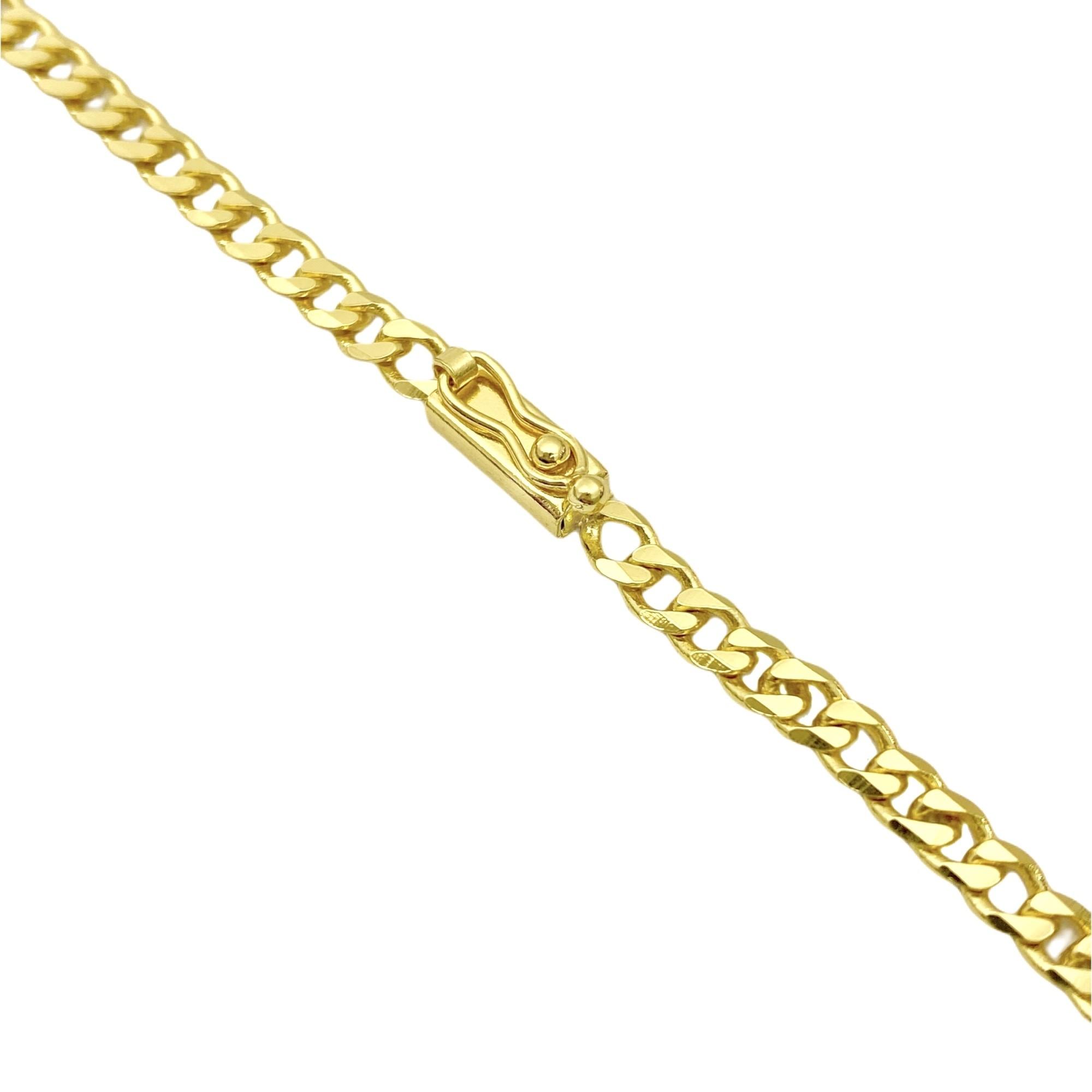 Corrente Grumet 4mm 60cm (14,5g) (Fecho Gaveta) (Banho Ouro 24k)