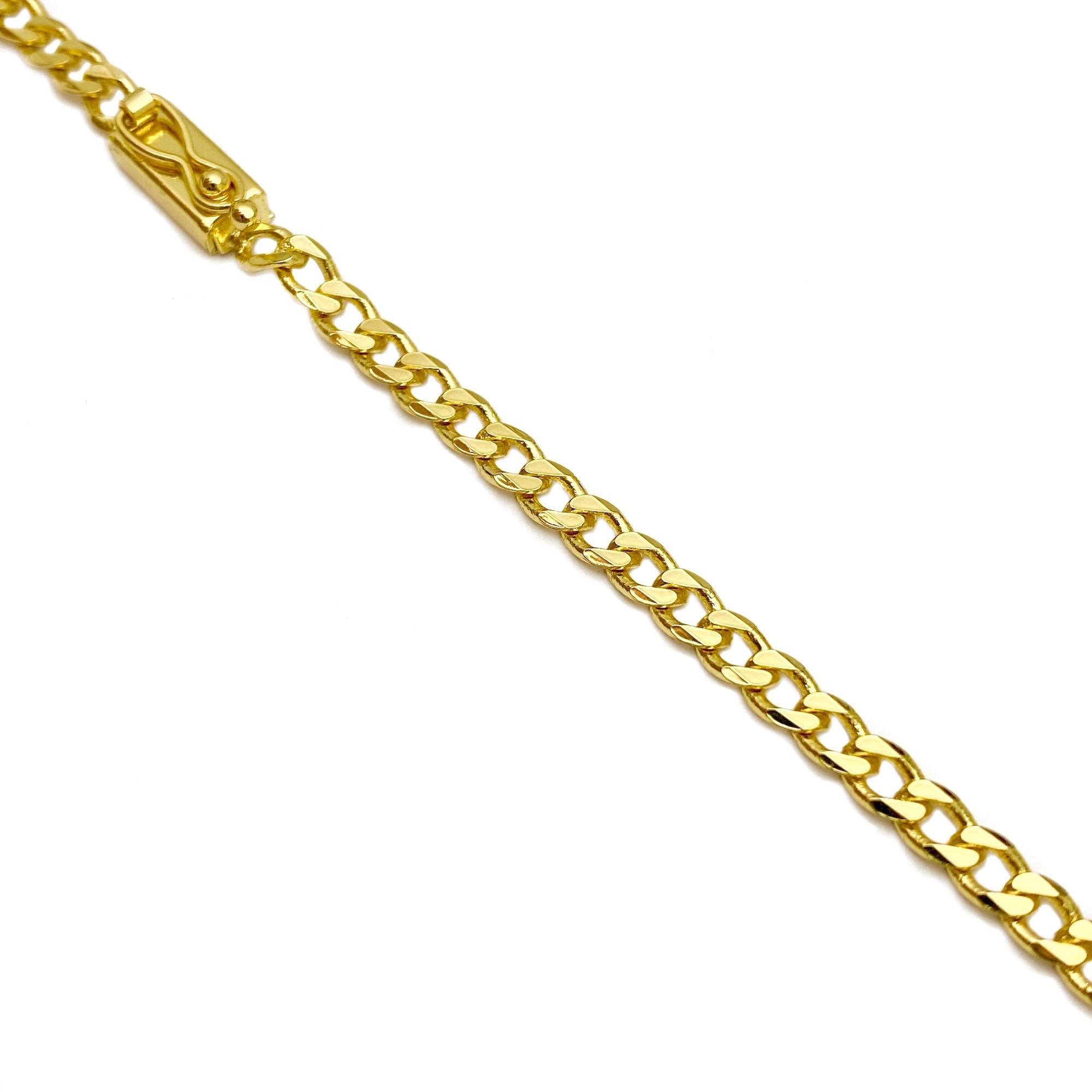 Corrente Grumet 4mm 70cm (18,8g) (Fecho Gaveta) (Banho Ouro 24k)