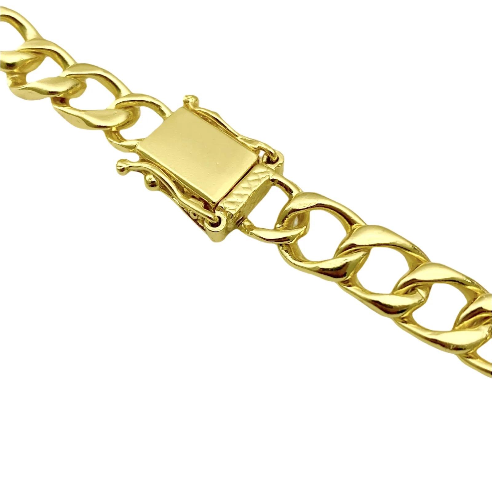 Corrente Grumet 7,5mm 60cm (35g) (Fecho Gaveta Duplo) (Banho Ouro 24k)