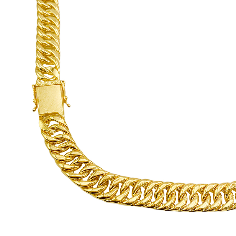 Corrente Double Grumet 13mm 70cm (100g) (Fecho Gaveta Dupla) (Banho Ouro 24k)
