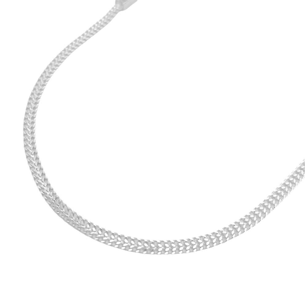 Corrente Grumet Union 3,3mm 70cm (9g) (Fecho Gaveta) (Banho Prata 925)