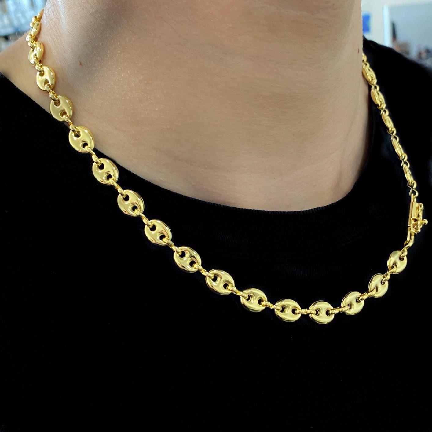 Corrente Gucci Link 8mm 50cm 19g (Banho De Ouro 18k)