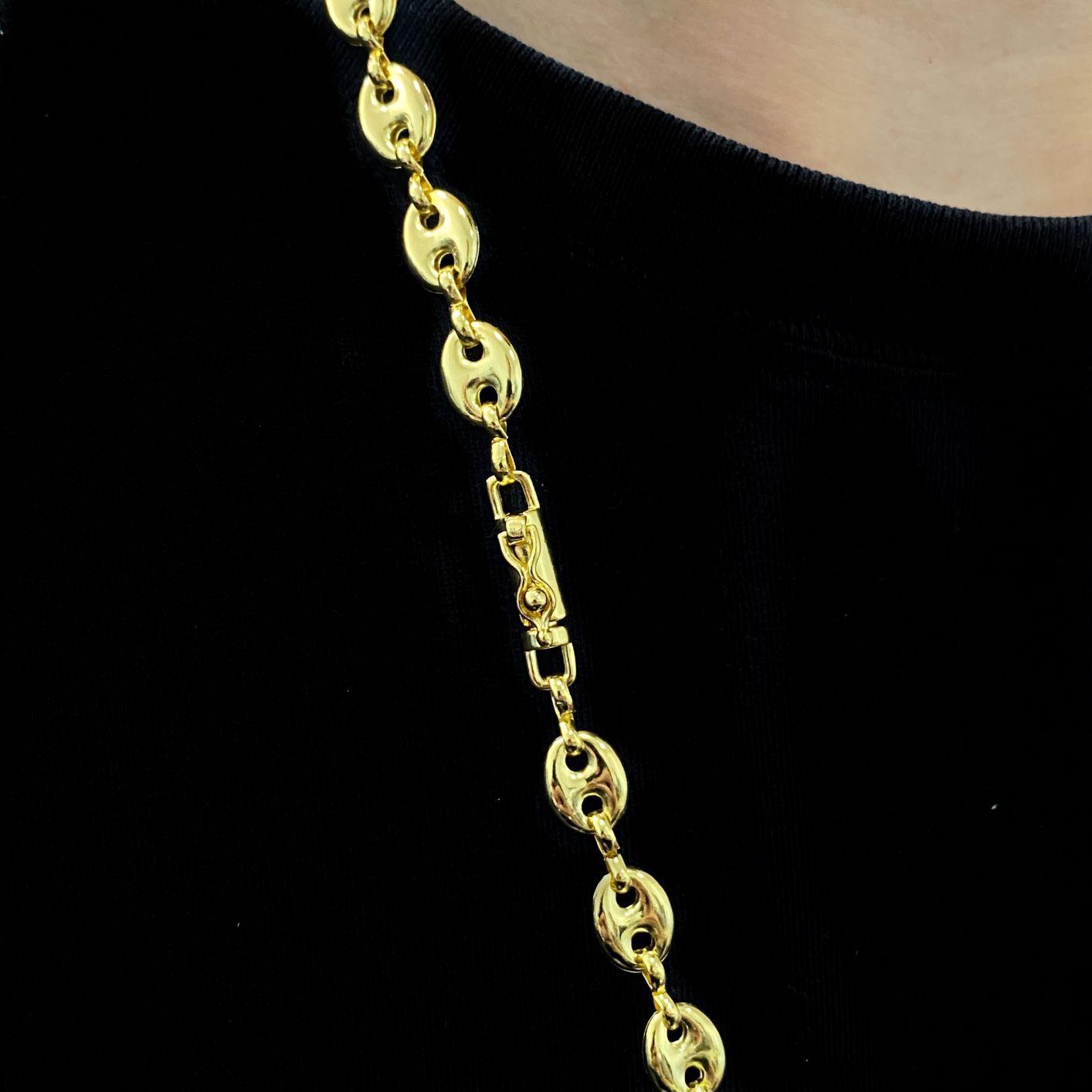 Corrente Gucci Link 8mm 60cm (25,6g) (Banho De Ouro 24k)