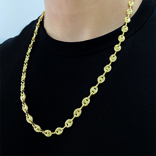 Corrente Gucci Link 8mm 70cm (29,5g) (Banho Ouro 24k)