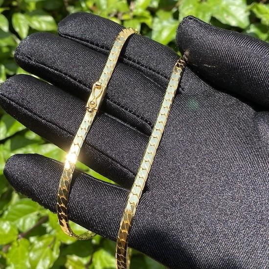 Corrente Lacraia 4mm 70cm 24g (Fecho Gaveta) (Banho Ouro 24K)