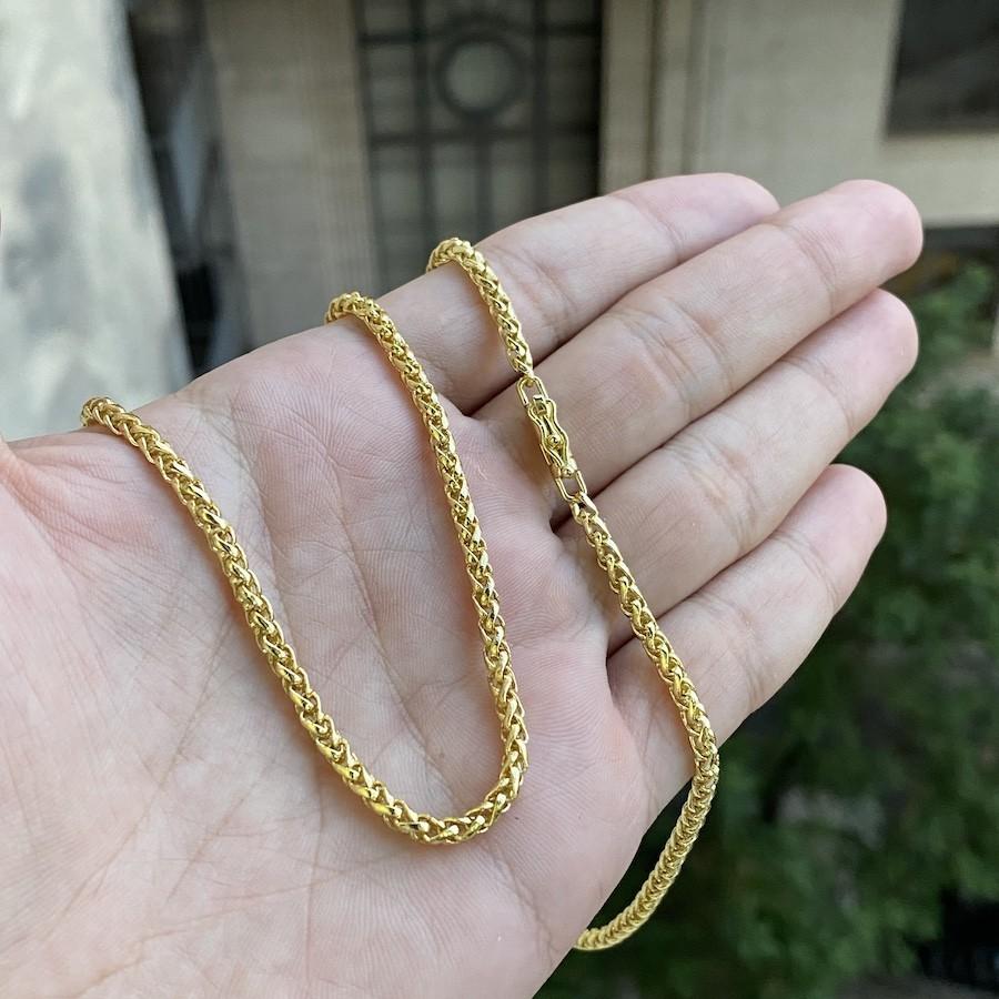Corrente Peruana 3mm 60cm (18,2g) (Canhão) (Banho Ouro 24k)