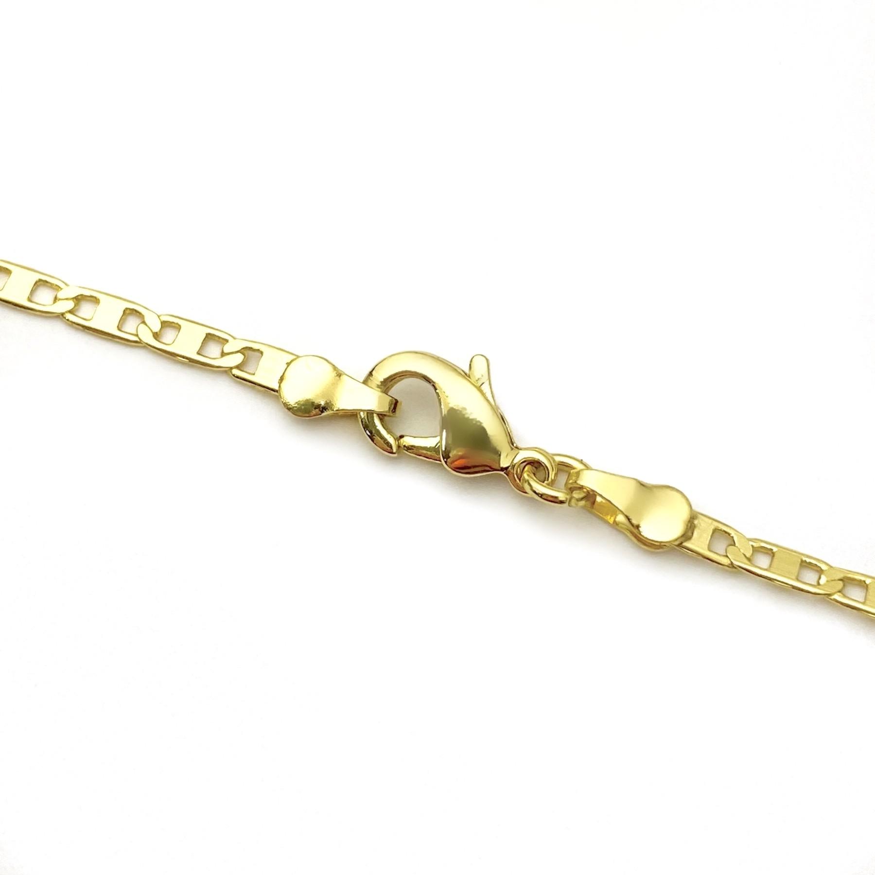 Corrente Piastrine 2mm 60cm 4g (Fecho Mosquetão P) (Banho Ouro 24k)