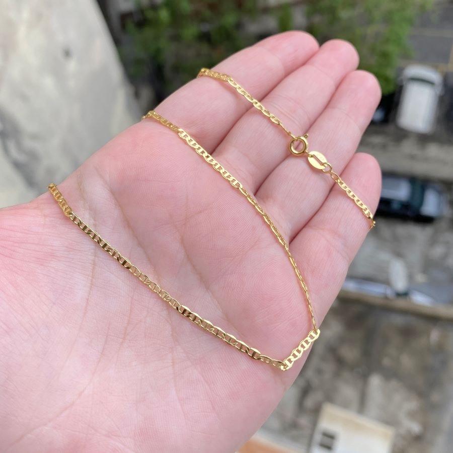 Corrente Piastrine 2mm 60cm (Fecho Tradicional) (TAG 24K) (Banho Ouro 24k)