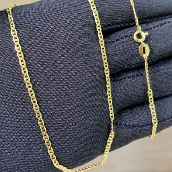 Corrente Piastrine 2mm 70cm (Fecho Tradicional) (TAG 24K) (Banho Ouro 24k)