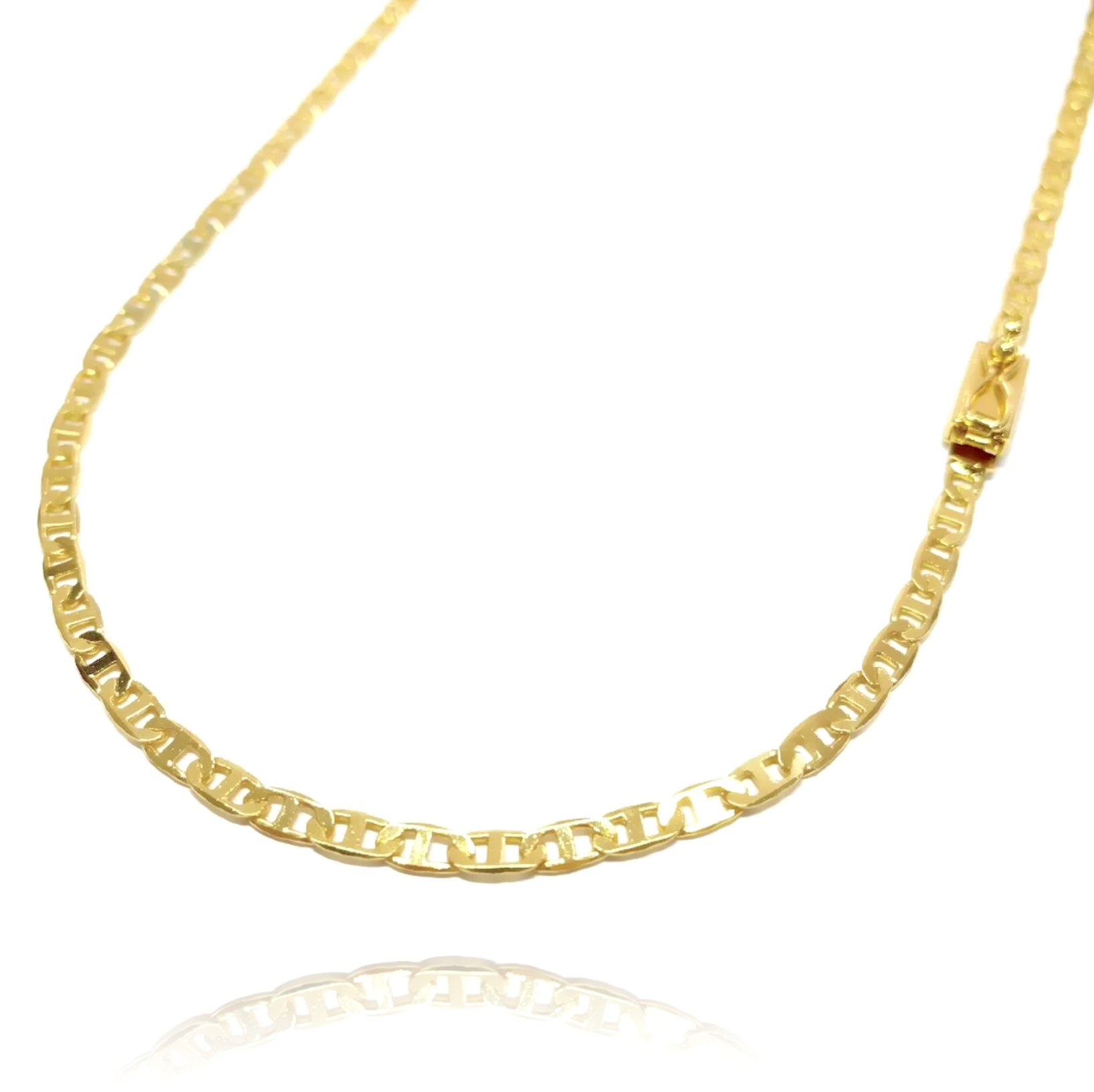 Corrente Piastrine 3,3mm 60cm (9g) (Fecho Gaveta) (Banho Ouro 24k)
