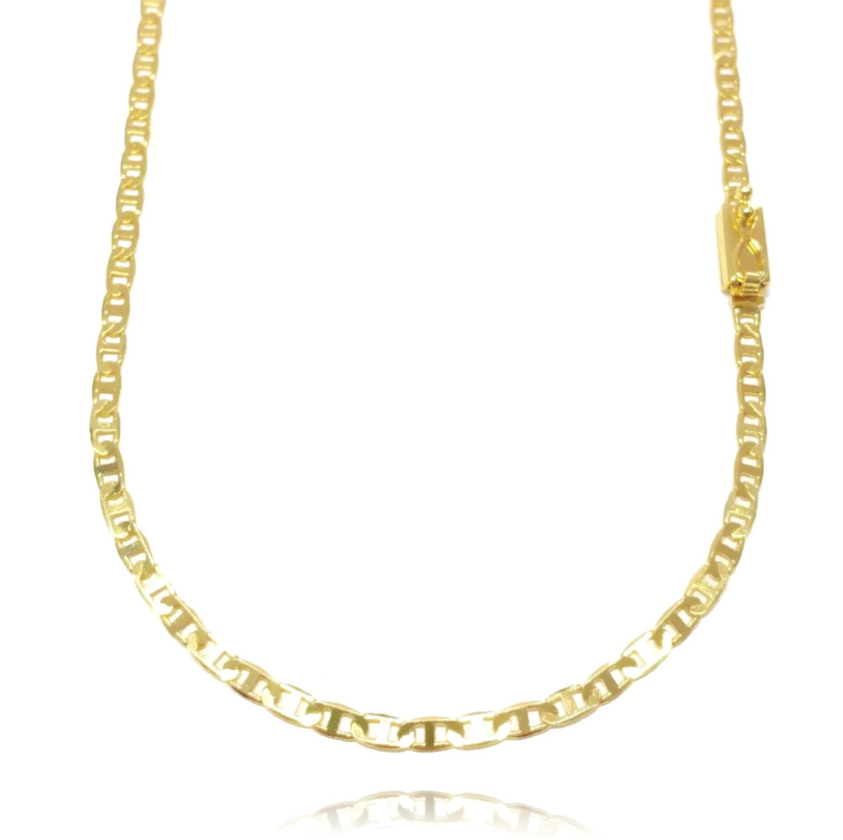 Corrente Piastrine 3,3mm 70cm 9,6g (Fecho Gaveta) (Banho Ouro 24k)