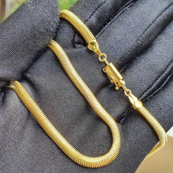 Corrente Rabo de Rato Chapada 4mm 60cm (15,5g) (Fecho Canhão) (Banho Ouro 24k)