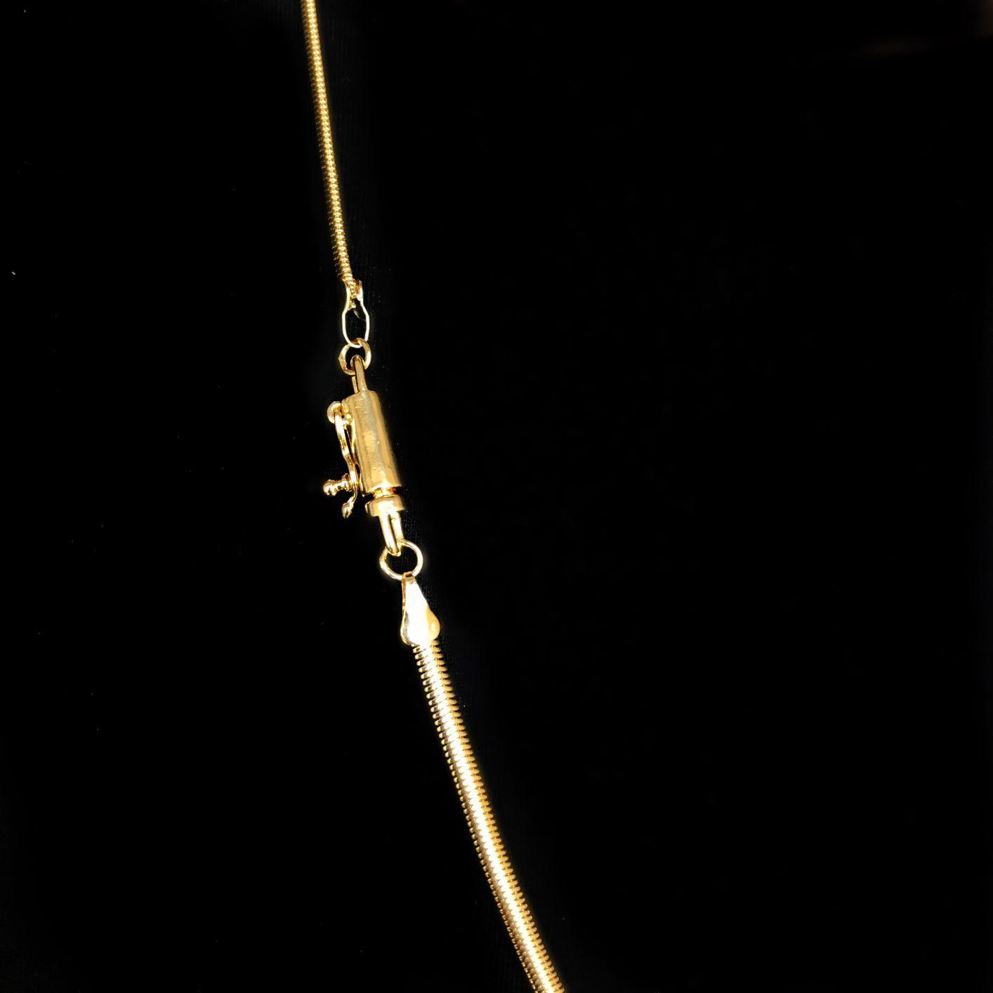Corrente Rabo de Rato Chapada 3mm 70cm 15g (Fecho Canhão) (Banho Ouro 24k)